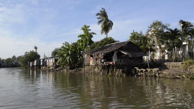 water canal in the mokeng delta, vietnam - mekong delta stock videos & royalty-free footage