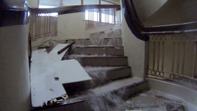 Water Cascades Down Staircase During Typhoon Haiyan