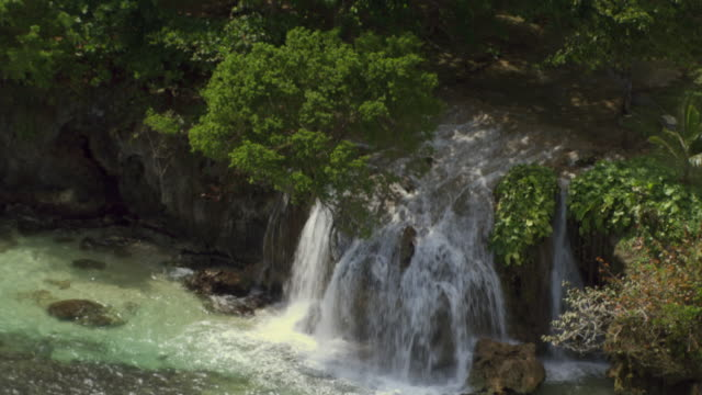 Water cascades from the Dunn River Falls in Jamaica.