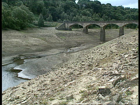 Water companies pofits and criticism EXTYorkshire GV Dried up river under bridge TX 4990 LS Dried up riverbed ZOOM IN ITN