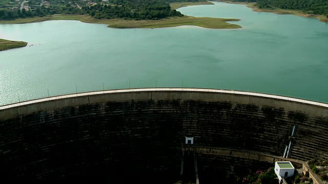 water dam castillon spain aerial 01 - dam stock videos and b-roll footage