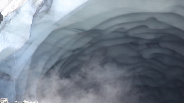cu of water dripping in glacier cavern, swiss alps - glacier stock videos & royalty-free footage