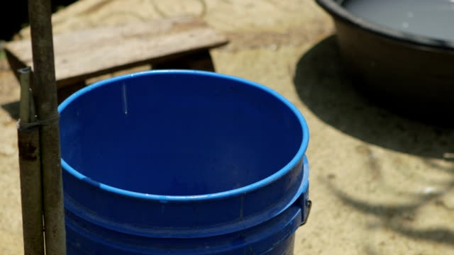 Water dripping out of a faucet in to a blue bucket