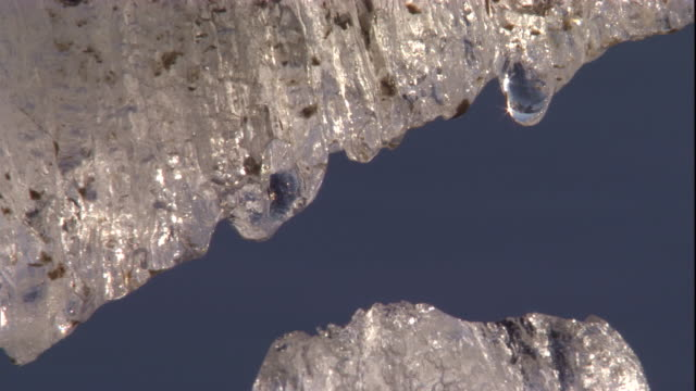 water drips from a chunk of ice floating in the water. available in hd - hd format stock videos & royalty-free footage