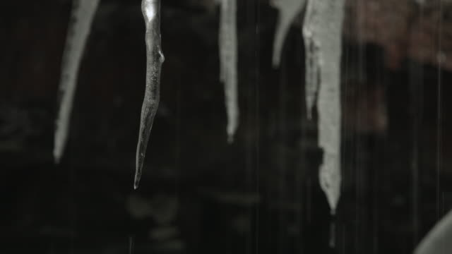 water drips from icicles in a cave. - hd format stock videos & royalty-free footage
