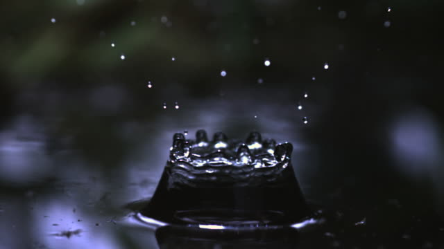 slomo water droplet falls into water, uk - water stock videos & royalty-free footage