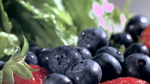 Water droplets on fresh Blueberry and vegitables