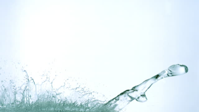 water exploding and splashing against white background, slow motion - völlig lichtdurchlässig stock-videos und b-roll-filmmaterial