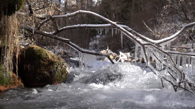 water fall down in a small mountain creek with iced stalactites - ghiacciato video stock e b–roll