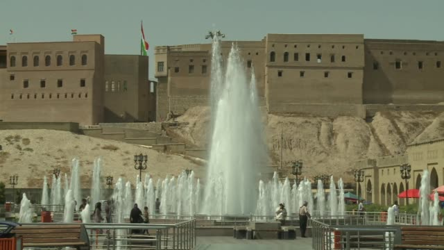 water features at citadel in irbil in northern iraq during isil conflict in 2014 - isil conflict stock videos & royalty-free footage