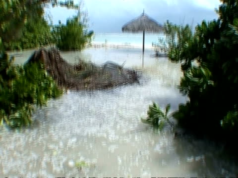 MS water flooded onto beach caused by tsunami, Thailand
