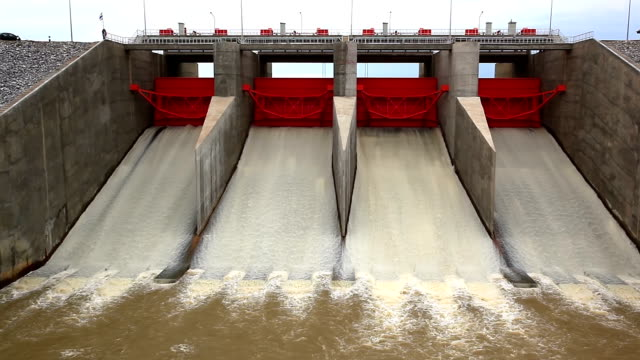 Water Flowing from Hydroelectric Power plant of dam