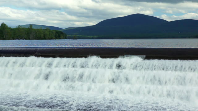 ws pan water flowing out of ashokan reservoir / west hurley, new york, united states - reservoir stock videos and b-roll footage
