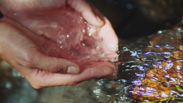 water flowing through hands - protezione video stock e b–roll