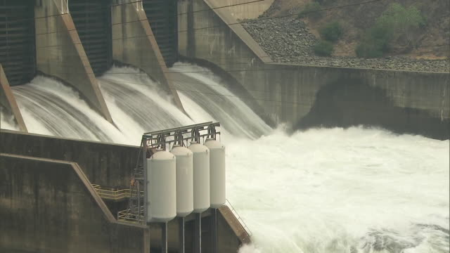 water flowing through the keswick dam on july 27, 2018 in redding, california. - crime or recreational drug or prison or legal trial stock videos & royalty-free footage