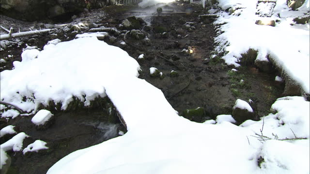 Water flows from the Fudo waterfall in a snow covered landscape.
