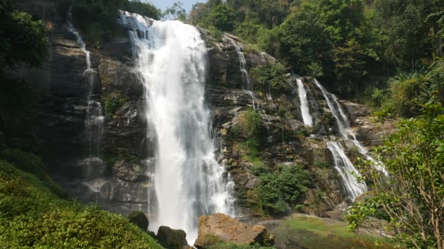 Water Flows of Wachirathan Waterfall. Chiangmai Provincne, Thailand