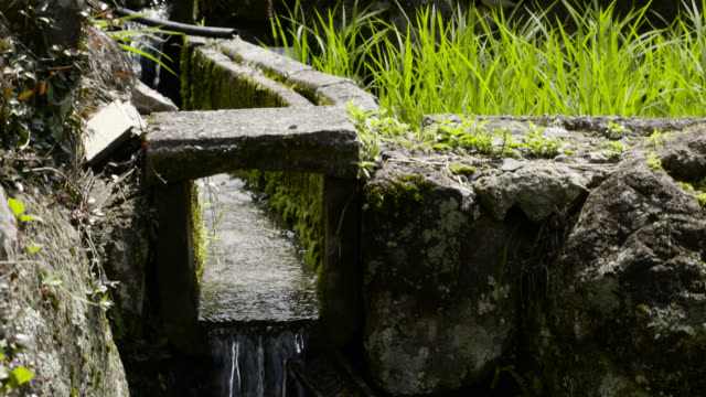 water flows through irrigation channels, japan. - irrigation equipment stock videos & royalty-free footage