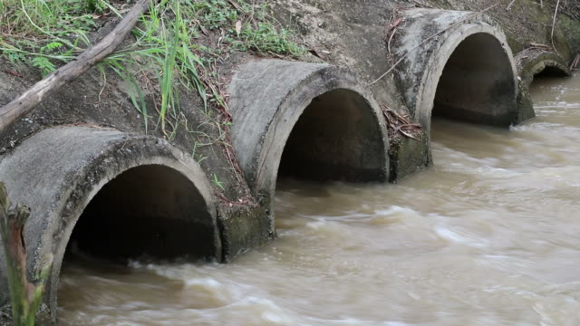 water flows through the concrete pipe radically. - irrigation equipment stock videos & royalty-free footage