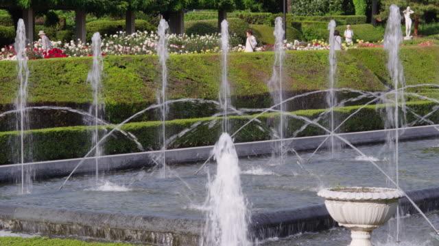 water fountain in a rose garden - 噴水点の映像素材/bロール