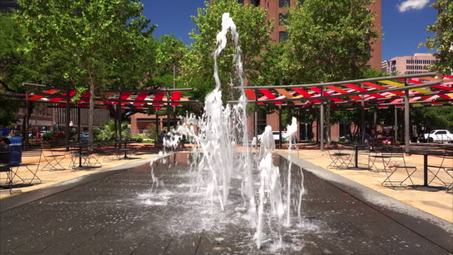 water fountain in downtown san antonio, texas - san antonio texas stock videos and b-roll footage