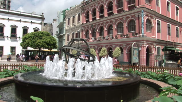 water fountain in the senado square of macau china - leal senado square stock videos and b-roll footage