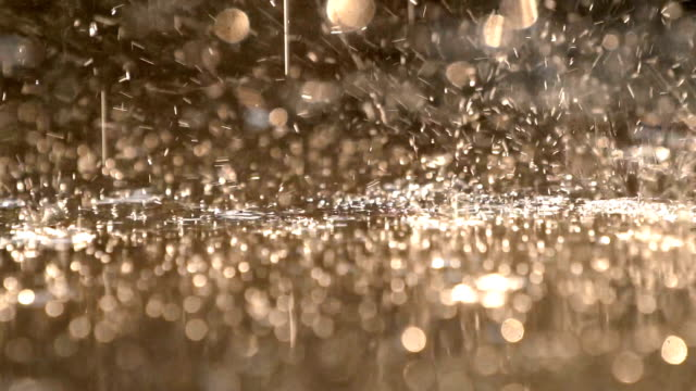 cu slo mo water from raining splashing on floor after raining with sunlight bokeh - extreme close up stock videos & royalty-free footage
