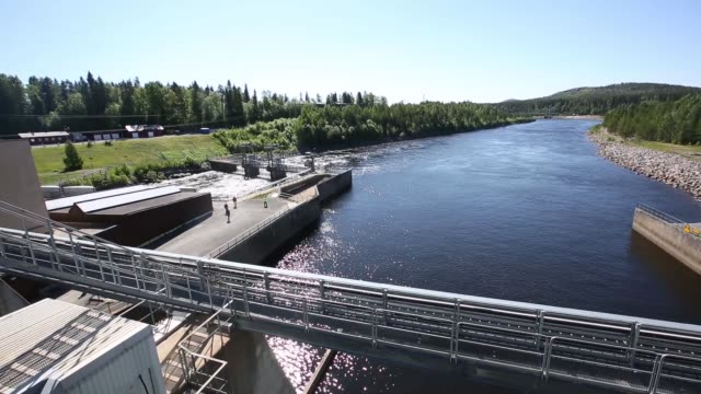 Water from the Lule Alv river is seen from the dam structure at the Boden Hydro Power Station operated by Vattenfall AB in Boden The Boden Hydro...