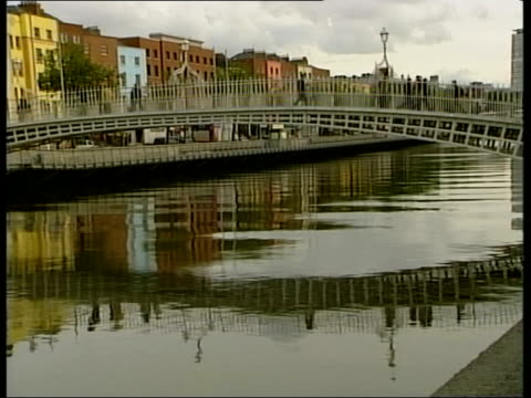 water gv bridge over river yes: to secure ireland's future' sign at riverside yes it matters' signs on street cms image of pistol held to man's head... - water pistol stock videos & royalty-free footage