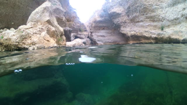 ws water in wadi shab - natural landmark stock videos & royalty-free footage