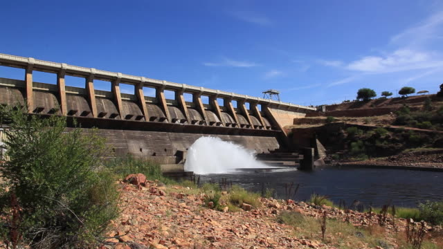 es tilt down water let out through flood gate at dam/ western cape/ south africa - hydroelectric power stock videos & royalty-free footage