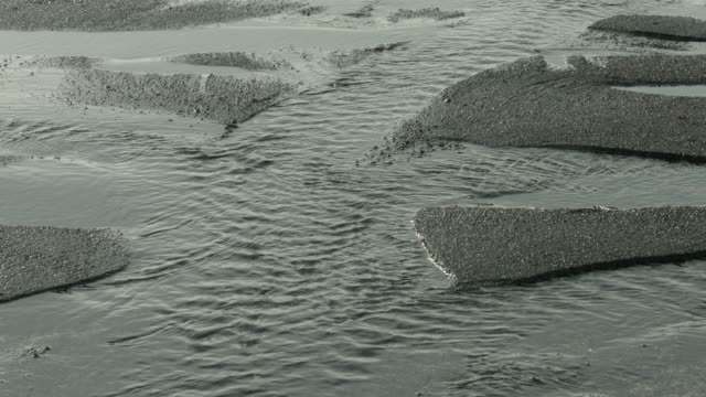 Water moves along eroded channels on a beach in Iceland.