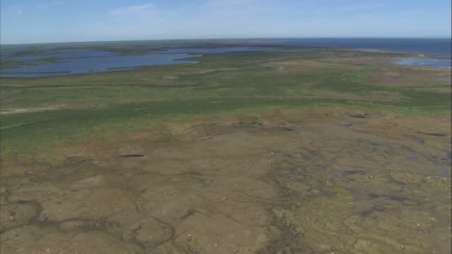 water of the seal river meanders along the green coastline of the hudson bay. - manitoba stock videos & royalty-free footage