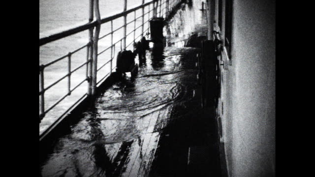 water on the deck of ocean going passenger ship - 船の一部点の映像素材/bロール