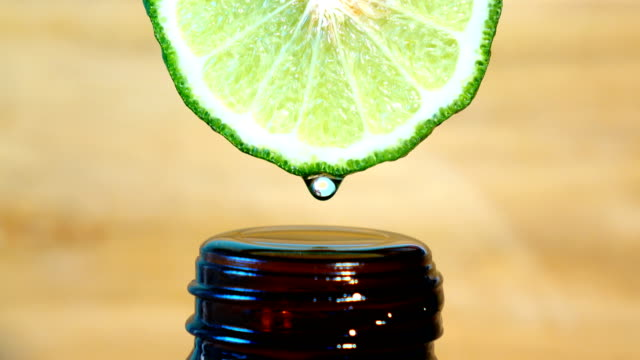 Water or oils drop from bergamot