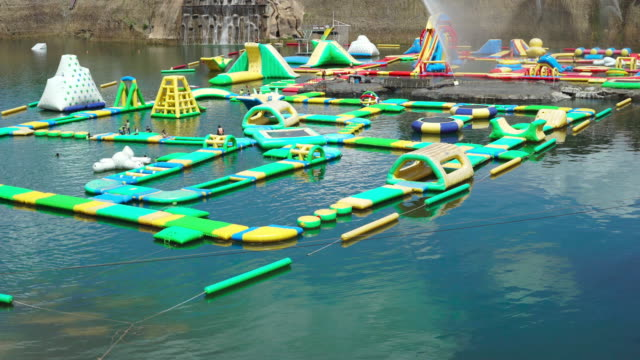 water park in the natural reservoir - standing water stock videos & royalty-free footage