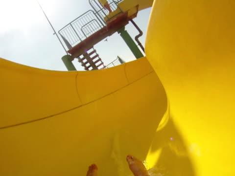 water park, slope down - ntsc - water slide stock videos & royalty-free footage