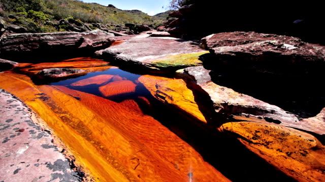 vídeos de stock e filmes b-roll de lagoa de água em um rio dourado, auyantepuy, venezuela - planície