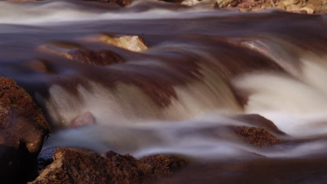 TL Water pours over rocks in river, Yorkshire, England