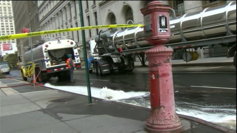 water pumping and subway tracks b-roll - hurricane sandy aftermath conedison truck drives by pumping water - environment or natural disaster or climate change or earthquake or hurricane or extreme weather or oil spill or volcano or tornado or flooding stock videos & royalty-free footage