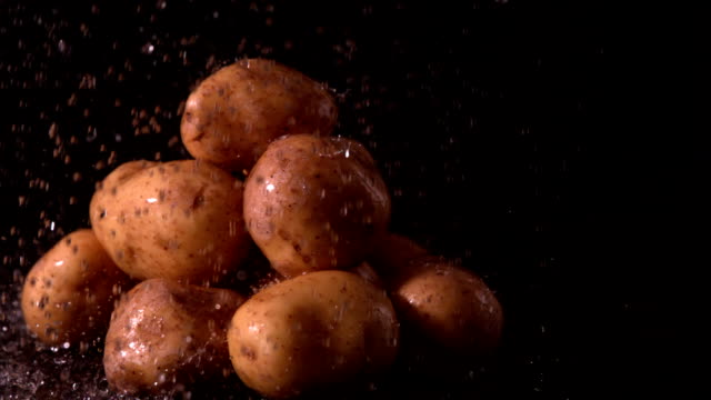 Water raining on pile of potatoes