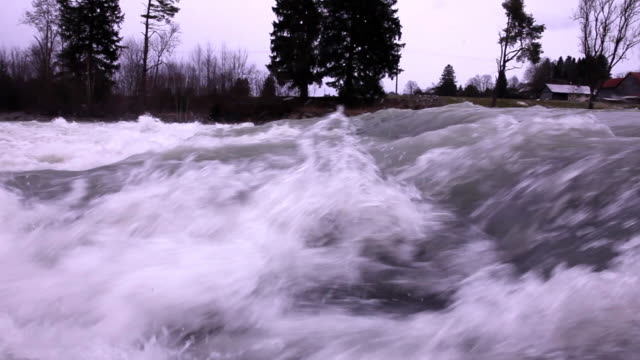 Water rapids in the river Lech. Slow motion.