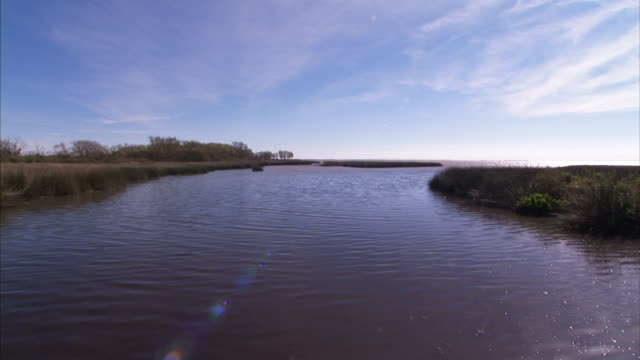 water ripples in an inlet bordered by grassy shores. - inlet stock videos & royalty-free footage