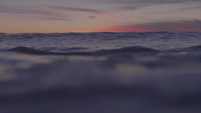 Water shot of waves breaking in the ocean. - Slow Motion