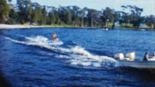 water ski show man (archival 1960s) - waterskiing stock videos & royalty-free footage