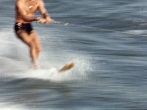 1955 montage water ski show / toronto, canada - waterskiing stock videos & royalty-free footage