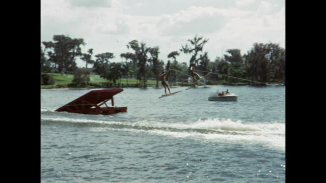 vidéos et rushes de 1954 montage water ski show, winter haven, florida, usa - 1954