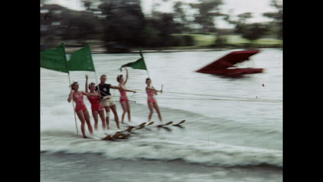 1954 montage water ski show, winter haven, florida, usa - human pyramid stock videos and b-roll footage