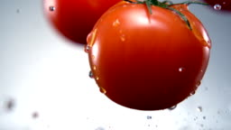Water splash on tomato, Slow Motion