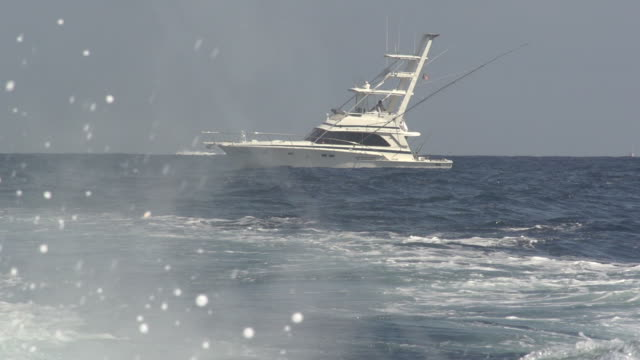 Water Spraying in Front of Fishing Vessel